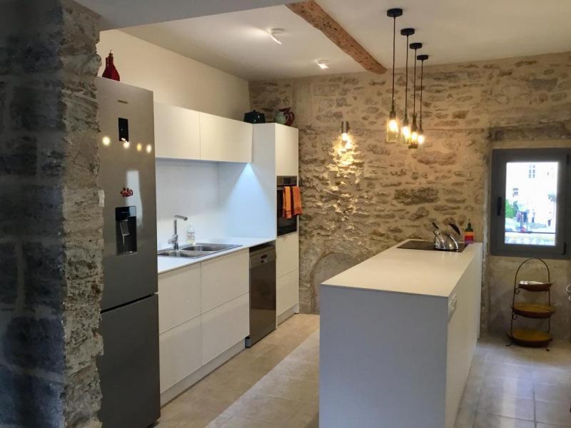 white textured aluminum non-toxic kitchen cabinets stone wall Languedoc Rousillon Pezenas ...