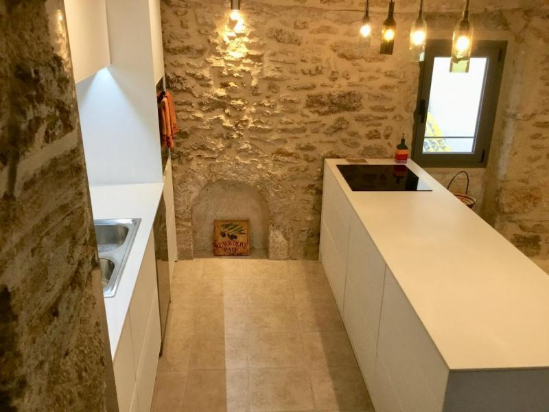 ... white textured aluminum non-toxic kitchen cabinets stone wall Languedoc Rousillon Pezenas ...