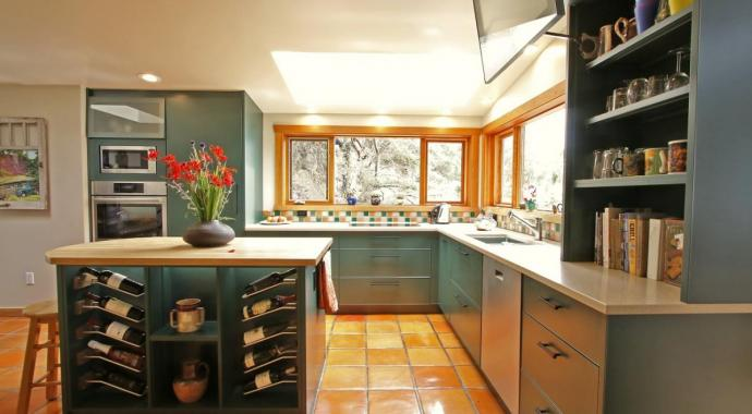 rustic kitchen in dark green aluminum non-toxic and sustainable